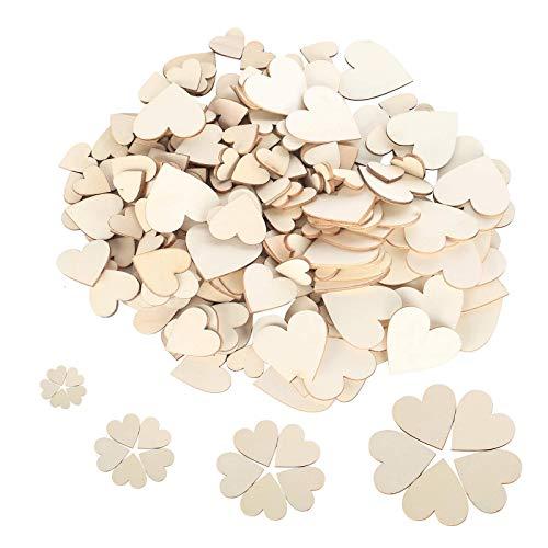 moinkerin 300 Piezas Corazones de Madera Rebanadas corazones madera boda para decoración de bodas, manualidades de bricolaje, fiestas de cumpleaños, decoración del hogar
