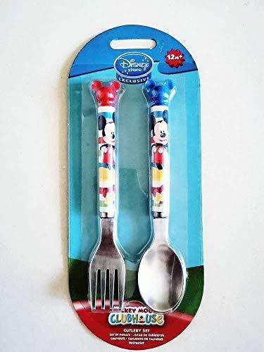 Lindo Mickey Mouse Vajilla infantil Disney Anime Cuchara Tenedor Set de Acero Inoxidable Cubertería para Niños Exclusiva Herramienta de Comida de Dibujos Animados