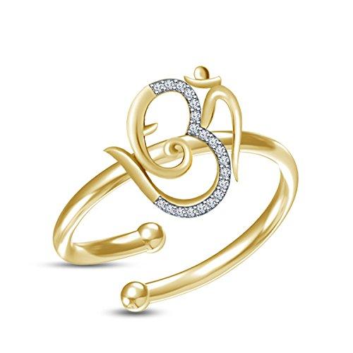 De las mujeres de moda Vorra 925 Plata pura 14 K Señor Ganesha Ganpati Om plateada oro anillo ajustable