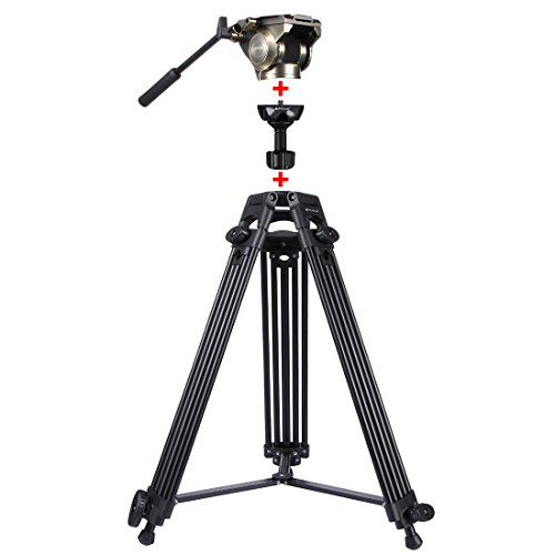 WSJ 3 in 1 (statief + schoteladapter + zwarte fluid-drag-kop) video-Camcorder-aluminiumlegering statief montageset voor DSLR, SLR-camera, in hoogte verstelbaar: 62-152 cm, goud