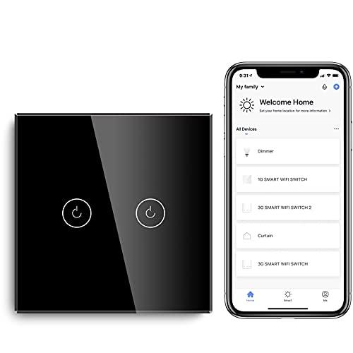 BSEED Interruptor de Sensor Táctil WIFI Inteligente (Se Requiere Línea Neutra) Alexa y Google Home Work con Tuya Para Interruptores de Luz de Pared con Placa de Cristal Negro 2 Gang 1 Vía Negro
