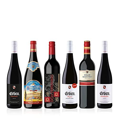 Liebliches Rotwein Probierpaket (5 x 0.75 l, 1 x 1l) 6 Flaschen verschiedene Rotweine für Ihre Weinprobe, Ideales Wein Geschenk Set