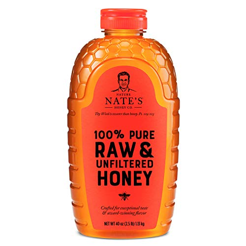 Nature Nate#039s 100% Pure Raw amp Unfiltered Honey 40 oz Squeeze Bottle Allnatural Sweetener No Additives