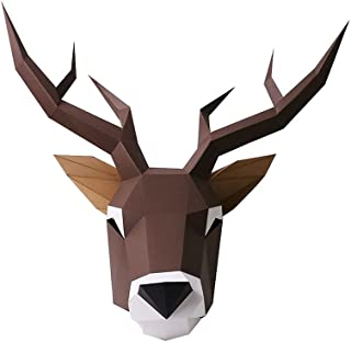 LKNWCFX Halloween Anime Cosplay, DIY 3D Origami Elk Mask, Christmas Cosplay Props, Unisex COS Gift Toys Model (Color : Bro...