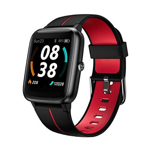 Smartwatch, KUNGIX Fitness Armband GPS Tracker Uhr 5 ATM Wasserdicht Touch Screen Smart Watch mit Pulsuhren Schlafmonitor Schrittzähler Wettervorhersage Sportuhr für Android iOS Damen Herren