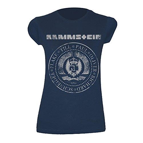 """Rammstein Damen T-Shirt Est. 1994"""" Offizielles Band Merchandise Fan Shirt Navy blau mit weißem Front Print -XL"""