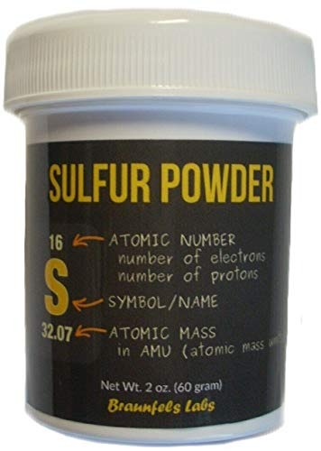 Braunfels Labs Sublimed Sulfur Powder - 2 Oz - Brimstone Quality - Flowers of Sulfur - Farm and Home - Historically used as an Insecticide, Fungicide, Pesticide.