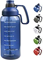 64 OZ Water Bottle with Straw, Motivational Water Bottle with Time Marker Clear Large Water Bottle with Handle, 2L Sports...