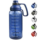 Half Gallon Water Bottle With Straw, 2l Water Bottle Motivational Water Bottle 64 Oz Water...