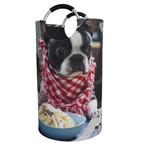Sunmuchen Cesta de lavandería de Boston Terrier, impermeable, grande, organizador para ropa, juguetes, dormitorio, baño, con asas de aluminio