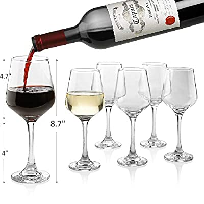Premium Wine Glasses 14 Ounce - Lead Free Clear Classic Wine Glass with Stem Pack of 6 - Great For White And Red Wine - Elegant Gift For Housewarming Party