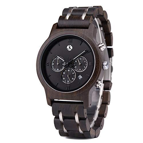 Kim Johanson Herren Holz-Edelstahl Armbanduhr *Air Force* in Dunkelbraun Chronograph mit Einem Gliederarmband Handgefertigt Quarz Analog Uhr inkl. Geschenkbox