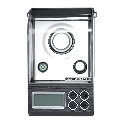 Walmeck Professionele digitale milligram weegschaal mini elektronische balans hoge precisie sieradenweegschaal met kalibratiegewicht-pincetten en weegschaal 30g 0.001g