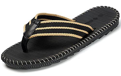 SXYRN Chanclas para Hombre, Sandalias de Playa, con Plantilla de cojín Suave, Comodidad Durante Todo el día, Resistente al Agua negro-45