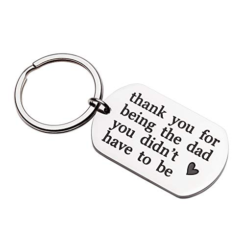 Father's Day Gifts Step Dad Keychain Gifts for Stepfather Father in Law Birthday Wedding Gift for Step Dad Father of Bride Groom Personalized Key Chain Ring Charm for New Dad Adopted Father