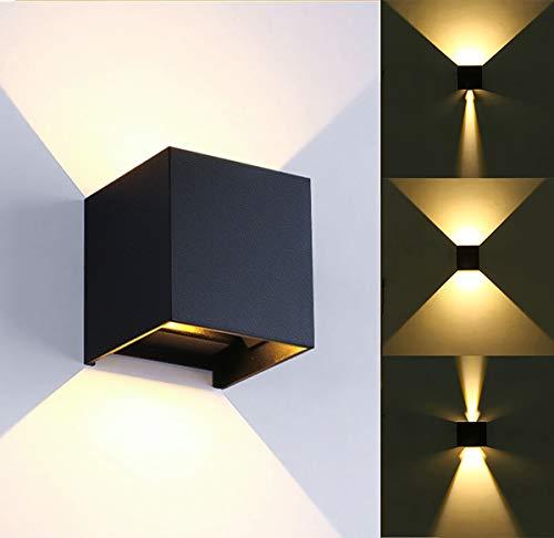 Lámpara de pared LED moderna de 12W / ángulo de haz ajustable a prueba de agua, caja de aleación de aluminio blanco cálido 3000k, adecuada para interiores/exteriores