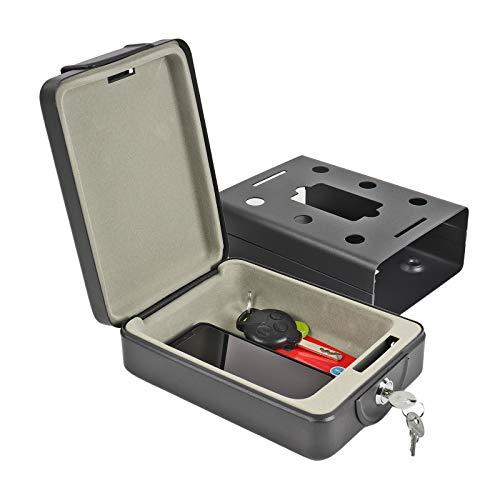 ProPlus mobiele safe met sleutel B 15 x D 21 x H 5,5 cm, geldcassette, kluis, zwart voor caravans en campers