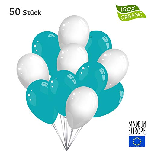 Twist4 30 Premium Luftballons in Türkis / Weiß - Made in EU - 100% Naturlatex somit 100% giftfrei und 100% biologisch abbaubar - Geburtstag Party Hochzeit Silvester Karneval - für Helium geeignet