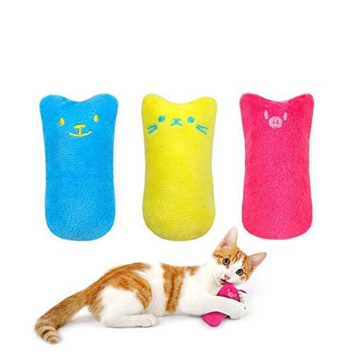 workbees Katzenminze Spielzeug, Katzen Kauen Kissen | Knuddelkissen mit extra viel natürlichem Catnip zum Kuscheln und Spielen | geeignet für alle Katzen und Kitten (3 Stück)
