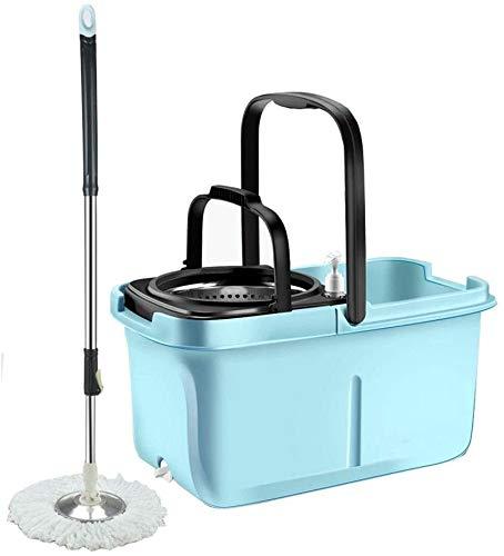QIURUIXIANG Giratoria de la fregona giratoria productos de limpieza del piso de la fregona - cubo y fregona giratoria con una casa de microfibra kit de la fregona giratoria limpieza (color: azul, tama