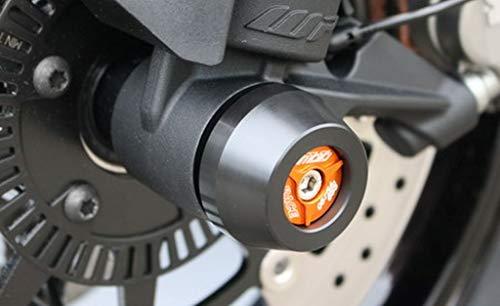 GSG-Moto Sturzpads Vorderrad passend für KTM Duke 790 ab 2018 Inlay Orange eloxiert