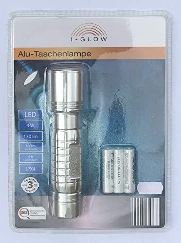 Alu-Taschenlampe LED I-GLOW 3W 100m Leuchtweite