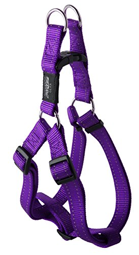 Reflective Adjustable Dog Step in Harness for Large Dogs; matching collar and leash available, Purple