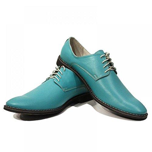 Blue Lagoon colorati eleganti scarpe da uomo - colorate a mano scarpe di cuoio italiane Oxfords casuale formale Premium Unique Shoes regalo Lace Men Dress Up dell'annata delle