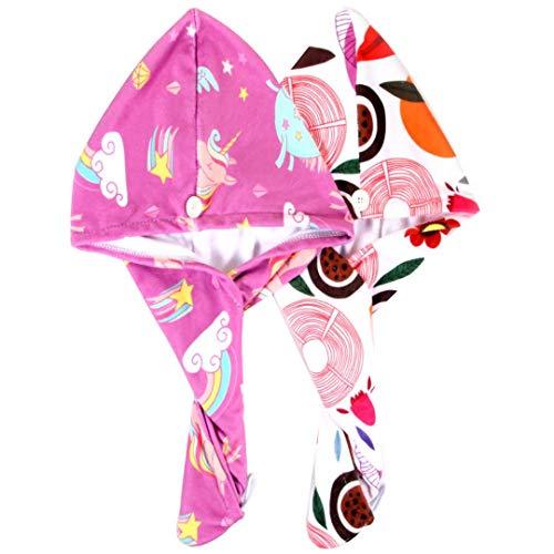Microfiber Hair Towel, 2Pack Hair Drying Towel Unicorn Hair Towel Wrap Quick Dry Turban Towel Hair Wrap for Kids Girls Children Women