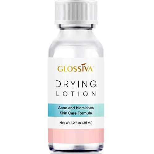 Glossiva Drying Lotion, Acne Spot Treatment Dries Out Pimples, Blemishes, Zits, and Clogged Pores - Overnight Solution Powerful Ingredients 1.23 Fl Oz