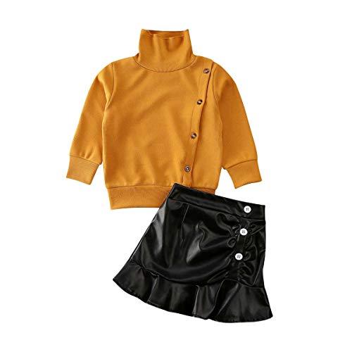 2 Stks Peuter Baby Meisjes Gebreide Lange Mouw Effen Kleur Tops Trui + PU Lederen Rokken Jurk Herfst en Winter Outfit Set