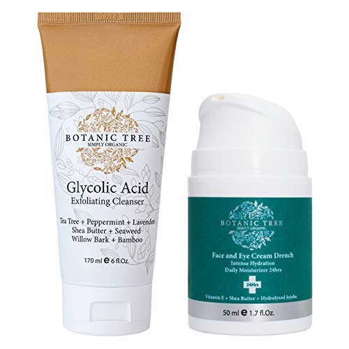 Kit Glycolic Acid Exfoliator Face Wash + Drench Moisturizer Face And Eyes Intense Daily Hydration 24hrs-AHA For Wrinkles and Lines Reduction-Acne Face Wash For a Deep Clean.