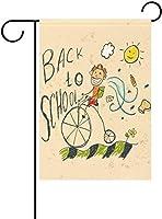 フラッグ 自転車に乗った手描きの少年と幸せな太陽の花学校に戻る庭の旗バナー屋外の家の庭の植木鉢の装飾のための 30 x 45cm