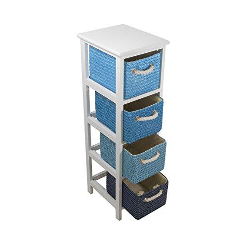 Frandis Meuble Victoria-4 tiroirs, Structure Bois laqué Blanc, paniers tressés, Coloris dégradé Bleu Dim Produit : 25 x 29 x 86 cm