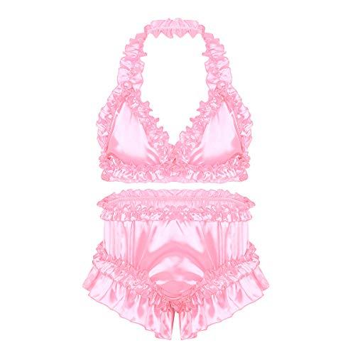 iiniim Herren Dessous Set Satin BH+Sissy Panties Höschen Nachtwäsche Nachthemd Reizwäsche Unterwäsche Set M-XL Rosa XL