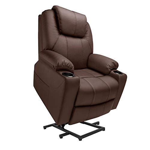 Furgle Large Power Lift Chair Electric Recliner Chair with Massage Vibration for Elderly Living Room Lounge Massage Chair 1 Remote Side Pockets and Cup Holders TUV Certified PU Leather Brown