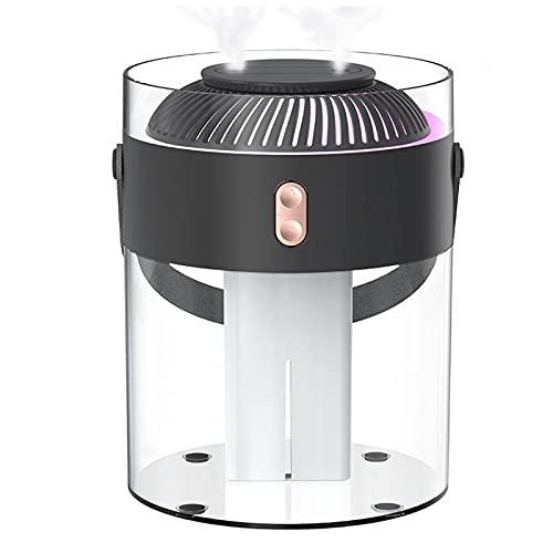 gaoxiao Humidificador Silencioso Dormitorio Home Ultrasonic Air Diffuser con Modo de Niebla Ajustable y LED de 7 Colores 2 Boquilla Portátil, Alimentación USB, 2.6L(Color:Negro)