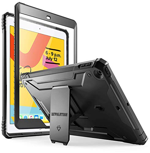 Poetic Revolution Series Case Designed for iPad 10.2 7th Generation 2019 / 8th Generation 2020 Case, Full-Body Rugged Shockproof Protective Cover with Kickstand and Built-in-Screen Protector, Black