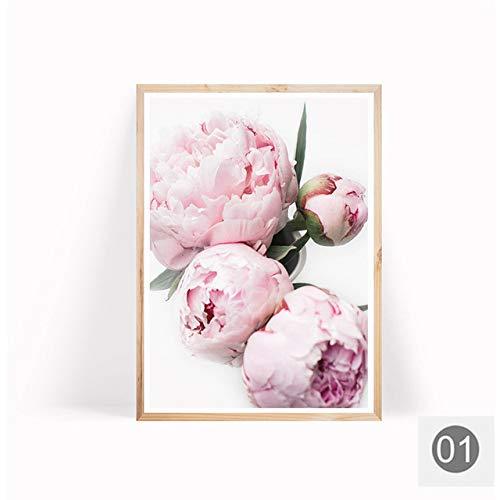 LiMengQi2 Minimalistische Plakate und nordische Drucke, rosa Pfingstrosenblume, Kinderzimmerdekoration, Leinwandmalerei, Wandkunst, Bild für Wohnzimmer (ohne Rahmen)