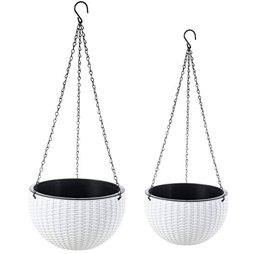 Foraineam 2-Pack Dual-pots Design Hanging Basket Planters Self-Watering Indoor Outdoor Plant & Flower Hanging Pots with Drainer and Chain, 2 Size Assorted (White)