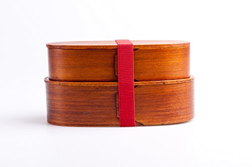 Original japanische Lunchbox - Bento Box - 2-stöckige Brotdose aus dunklem Holz