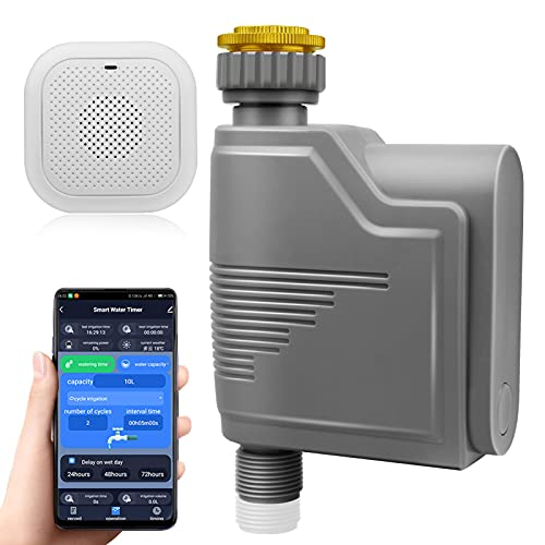 Yiracy Smart Sprinkler Timer with Wi-Fi Hub Water Timer Programmable Wireless Remote Control Irrigation System with Water Flow Meter Smart Hose Faucet Timer Waterproof for Garden Yard Lawn