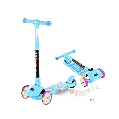 GAOTTINGSD Patinete Freestyle para niños de tres ruedas, con música, altura ajustable 65 cm ~ 80 cm, hasta 80 kg (color: Blue Music Flashing Wheel)