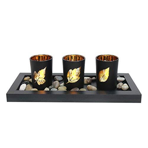 Uonlytech 1 Juego de Candelabros Candelita con Forma de Hoja de Arce Tazas de Velas de Vidrio para El Centro de Mesa de La Ceremonia de Boda Y La Decoración del Hogar