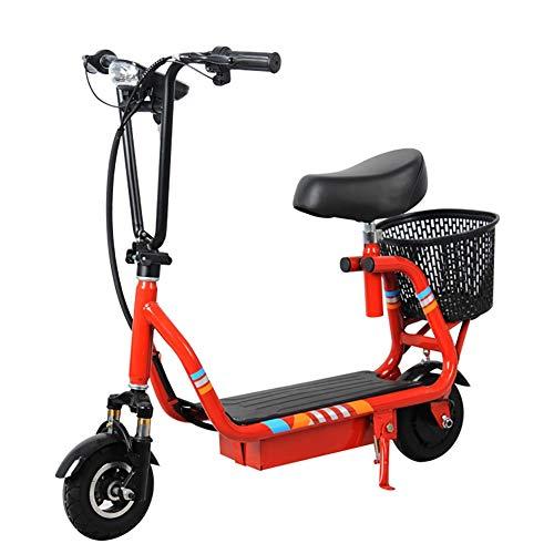 ZHANGCHUNLI Patinete 3 Ruedas Scooter para Niños E-Scooter rápido hasta 24 Km/h, a 15 km ~ 30 km de Largo Alcance, 300W Motores, la Carga máxima de 150 kg (Color : Red)