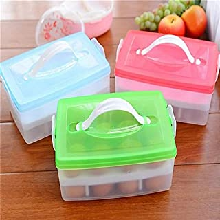 Kztiton - Basket Storage Boxes - Two Layer Plastic Food Storage Bin Box Hamper Egg Container Carrier Case Basket - Figure Mystery Hiassen Limited Bluray Song Belial Hiaasen Silver Collectables Books A