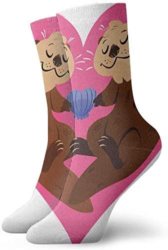 Paedto Love of Cartoon Otter Heart Rutschfeste Kompressionssocken Gemütliche athletische 11,8 Zoll Rundsocken für Männer, Frauen, Kinder