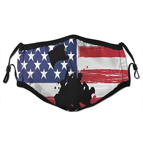 Popsastaresa Segne Amerika Silhouetten der amerikanischen USA Flagge Hintergr& Tapferkeit Patriot Thema,StaubwaschbarerwiederverwendbarerFilter&wiederverwendbarerM&schutzgesicht