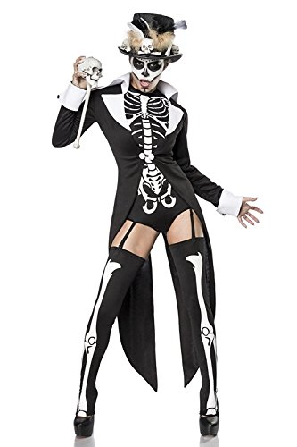 Sexy 7-teiliges Voodookostüm Kostüm Vodoo Damen Damenkostüm Halloween Skelett Skelettkostüm Set