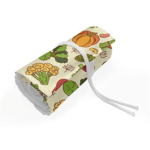 ABAKUHAUS Gemüse Kunst Mäppchen Rollenhalter, Gesundes Kochen Theme, langlebig und tragbar Segeltuch Stiftablage Organizer, 72 Schlaufen, Mehrfarbig